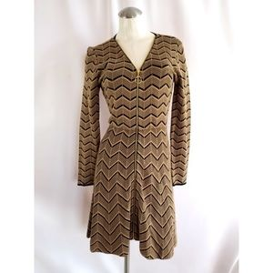 INC Size PM Knit Dress Front Zipper Tan Black